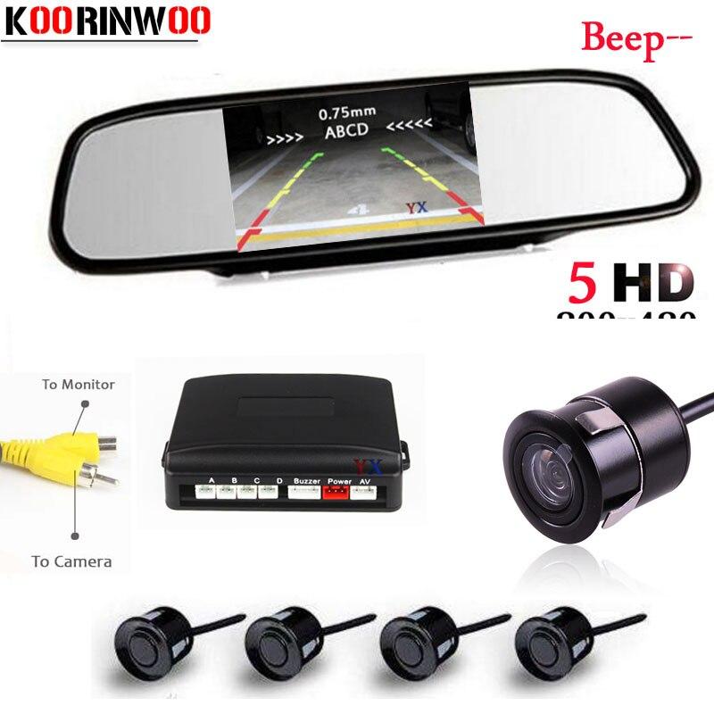 Koorinwoo Visual car Parking Sensor rearview mirror radar Buzzer Parktronic Car rear view font b camera
