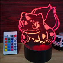 LED Night Light, Bulbasaur E-vendor 3D Visual Desk Lamps with 7 Color Changing Lights Touch Button, cat Shape Best Gift for Kids