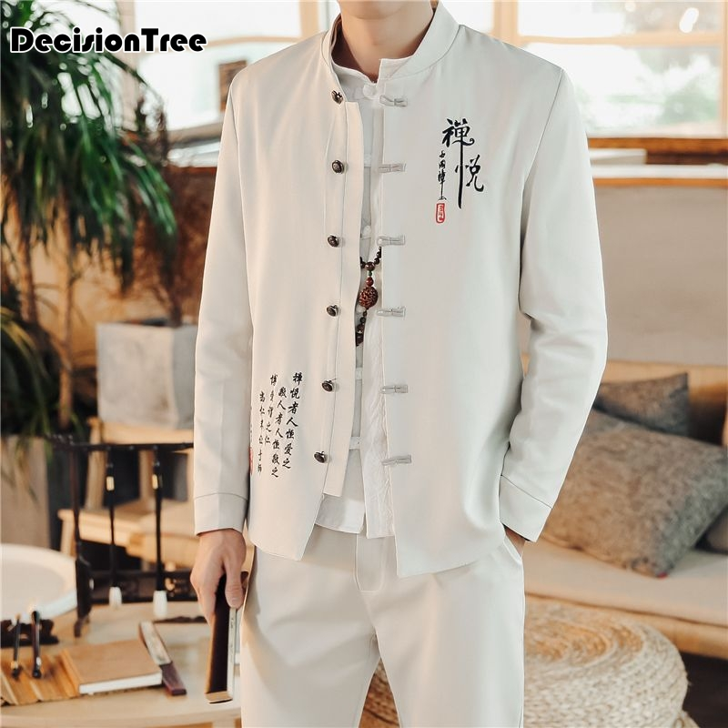 2020 Men Chinese Traditional Suits Tang Suit Wu Shu Tai Shaolin Kung Fu Wing Chun Shirt Long Sleeves Exercises Costume