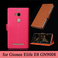 For Gionee Elife E8 Genuine Leather Case Screen Protector Metal Edge For GN9008 Business Flip Cell