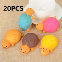 Mayitr 20PCS 7CM Jumbo Kawaii Squishy Turtle Charms Phone Strap Soft Cute Tortoise Bread Bun Phone