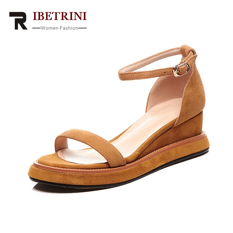 RIBETRINI Plus Size 34-40 Brand New Kid Suede Genuine Leather Mix Color Women Shoes Platform Summer Sandals Women ribetrini summer large size 34 40 cow genuine leather woman shoes mix color leisure flats women shoes sneakers