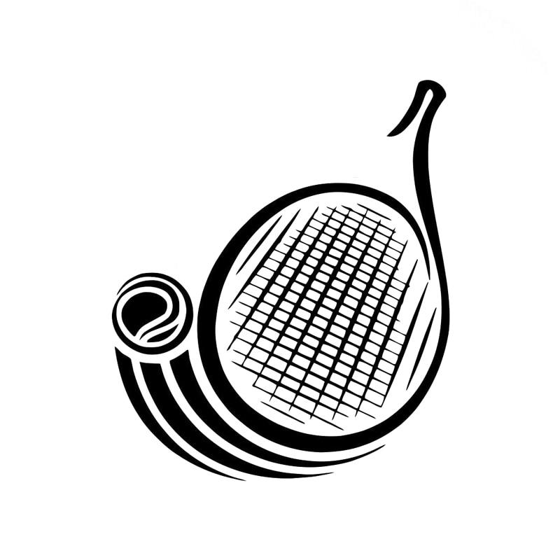 11.6CM*13.8CM Fashion Tennis Racquet Logo Sports Vinyl Car Sticker Black/Silver S9-0421