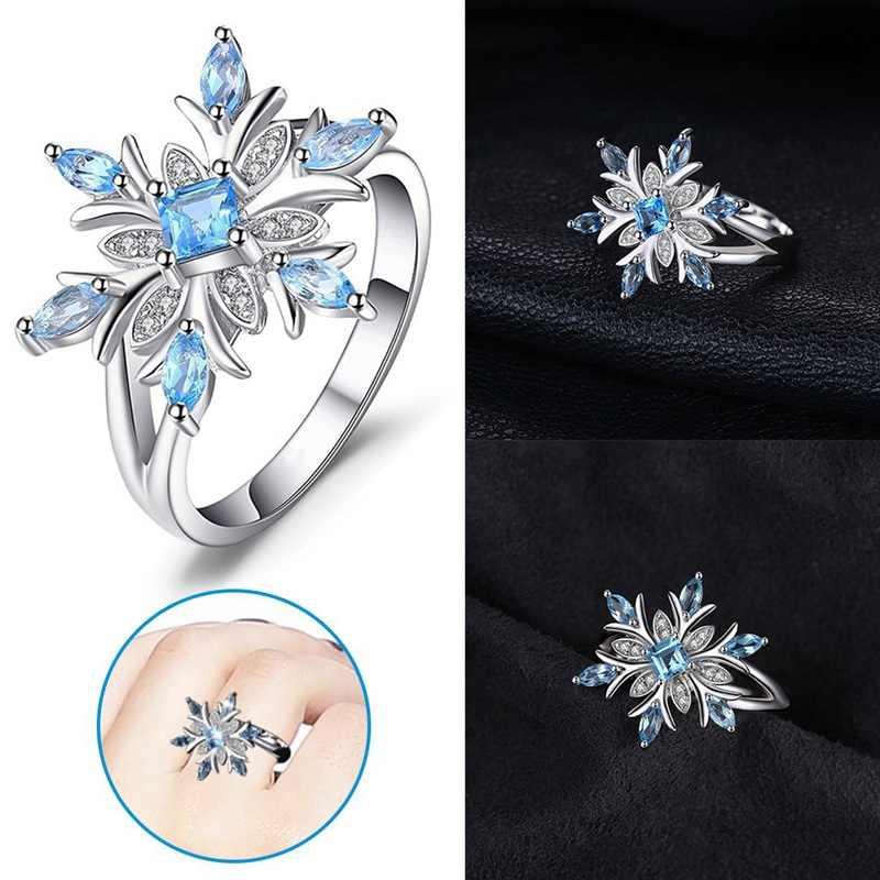 נשים אופנה אור כחול מעוקב זירקון קריסטל פרח טבעות אלגנטי שיק Snowflake טבעות תכשיטי חג המולד מתנות