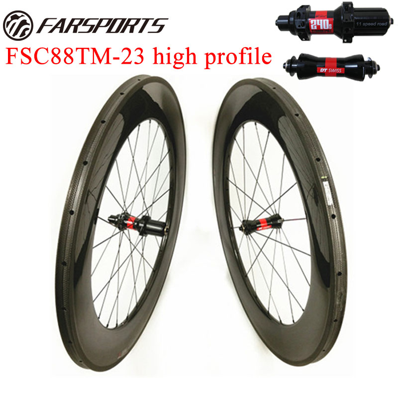 High Quality road bicycle wheelsets 88mm depth high profile racing wheelset tubular 23mm 25mm wide with glossy rim finishing