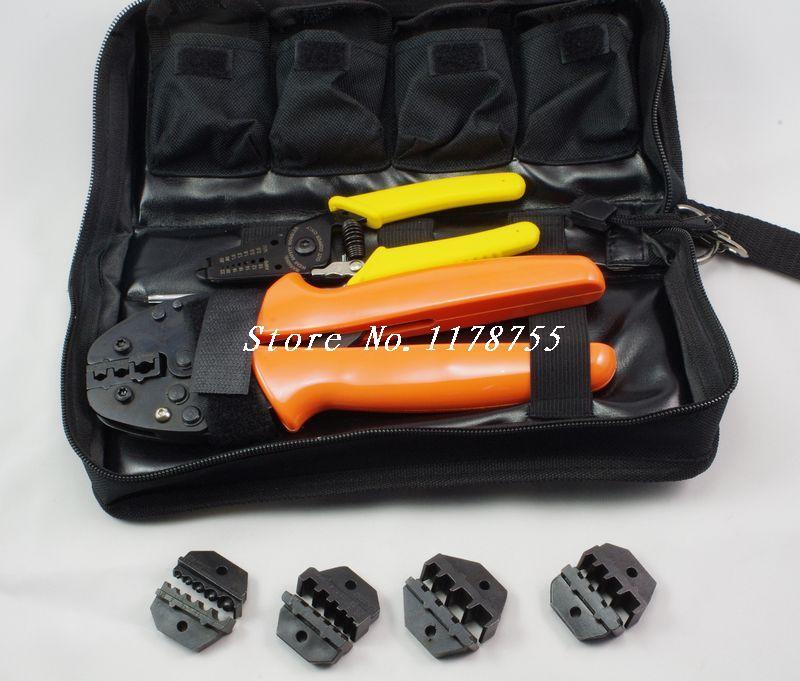 FSAK-56YJ Ratcheting Terminal Crimper Kit with 4 Dies 0.5-35mm2 800pcs connector terminal kit set with 175m adjustable ratcheting ferrule crimper plier crimping tool
