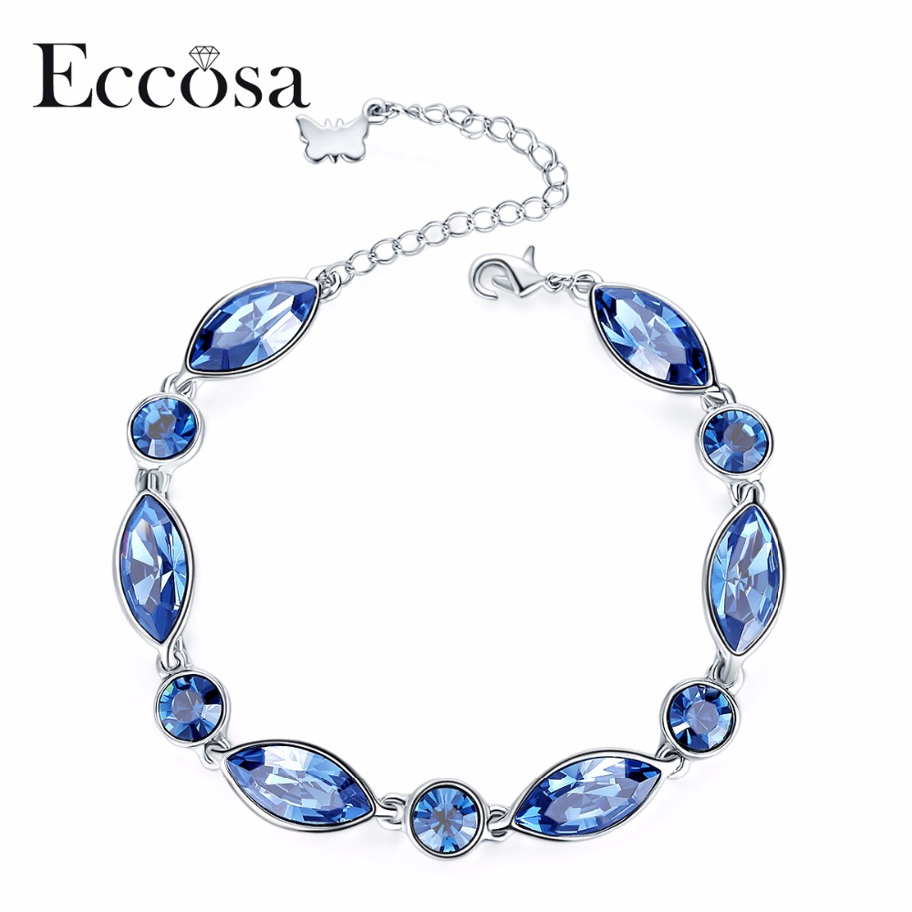 ECCOSA Fashion Design Love Peace Charm Bracelets&Bangles Romantic Butterfly Bracelet Bracelets For Woman Crystal From Swarovsk