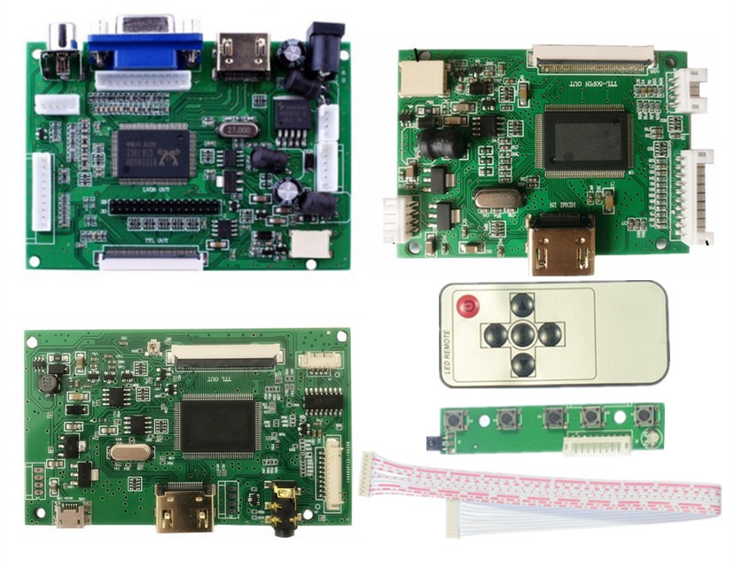 LCD TTL LVDS Controller Board HDMI VGA 2AV 50 PIN For AT090TN10 TN12 20000938-30 Support Automatically Raspberry Pi Driver Board
