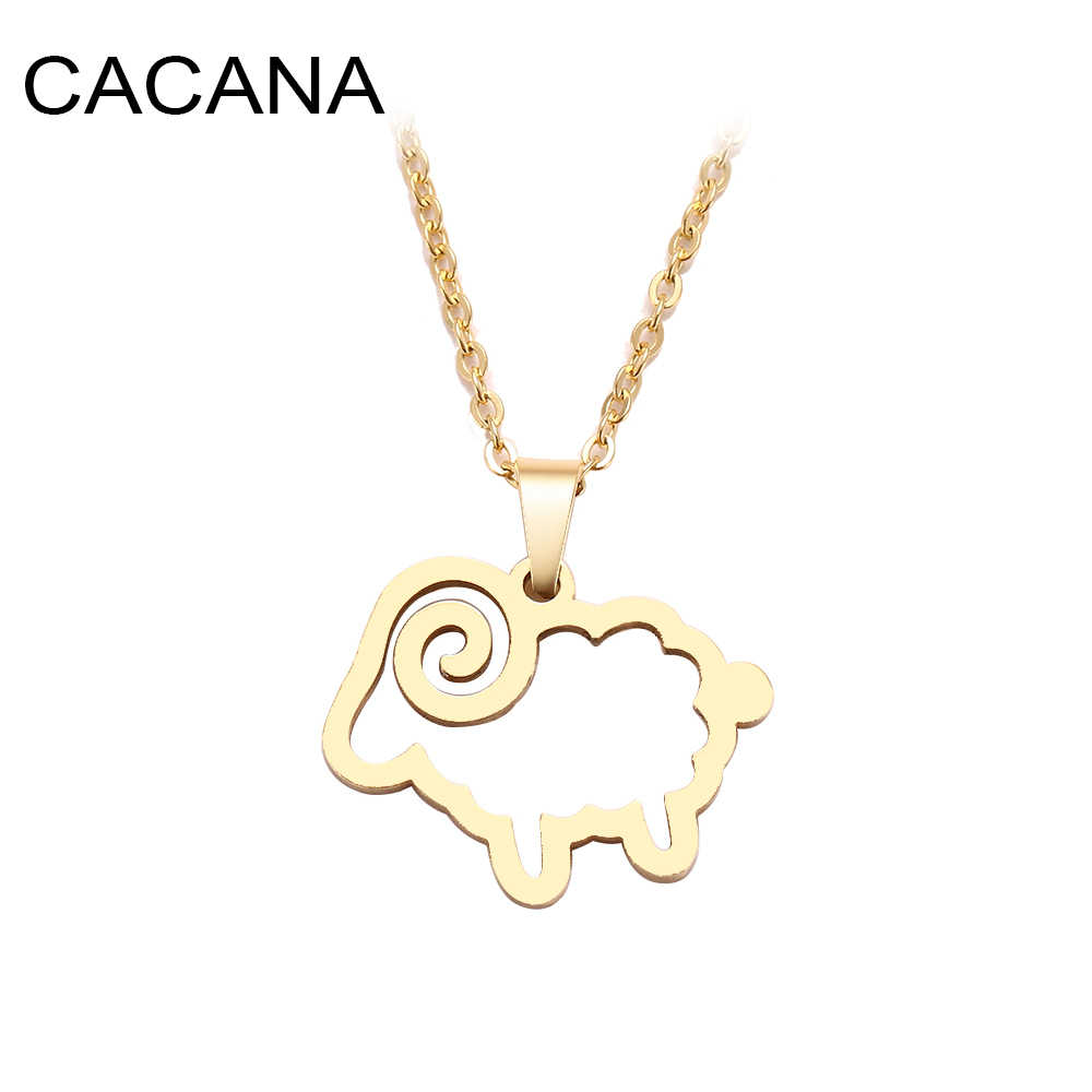 CACANA Stainless Steel Necklace For Women Man Cute Sheep Cross Gold And Silver Color Pendant Necklace Engagement Jewelry