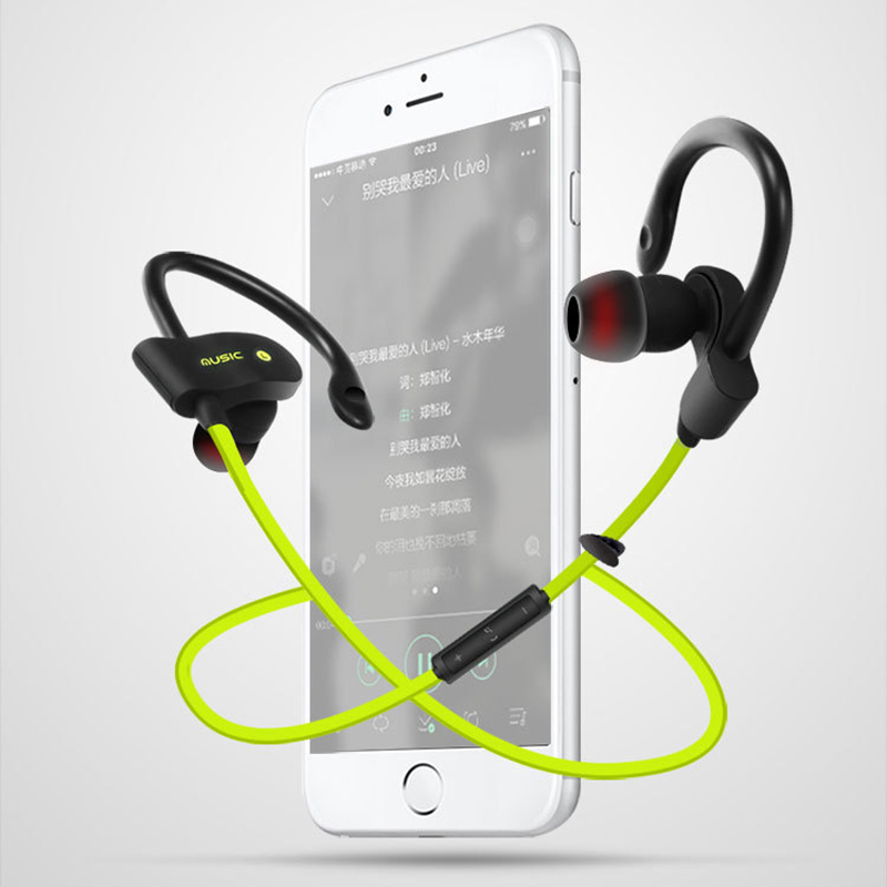 2017 New Wireless Bluetooth Sports Earphone Stereo Bass Ear Hook Waterproof Headphones With Microphone for Smartphone iphone 6 7 wireless headphones v4 1 bluetooth earphone stealth sports headset ear hook earpiece with mic for iphone 7 7s samsung xiaomi