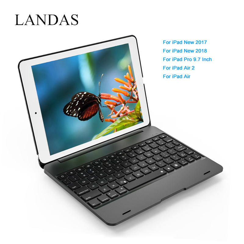 Landas 5 in 1 Model USB Wireless Bluetooth Keyboard For iPad Air 1 Case Cover Stand For iPad Air 2 Keyboard For iPad 2018 Case bluetooth v2 0 wireless 78 key keyboard for ipad ipad 2 the new ipad white silver