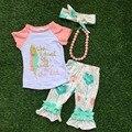2016 летний ребенок ребенок девушки наряды капри милый clothig бутиковые одежды дети бирюзовый устанавливает соответствующие ожерелье и повязка на голову