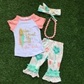 2016 Summer baby child  girls  OUTFITS capris cute clothig boutique clothes kids turquoise sets matching necklace and headband