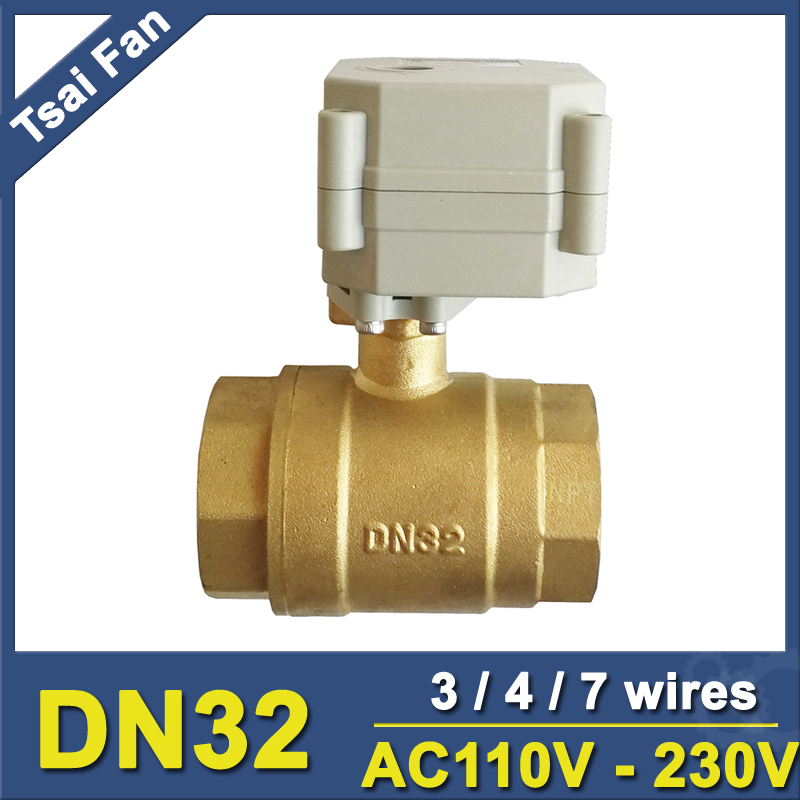 AC110V-230V 3/4/7 Wires 1-1/4'' Motorized Ball Valves BSP or NPT Thread DN32 Brass Actuated Ball Valve With Indicator mini brass ball valve panel mountable 450psi with lever handle chrome plated malexfemale npt