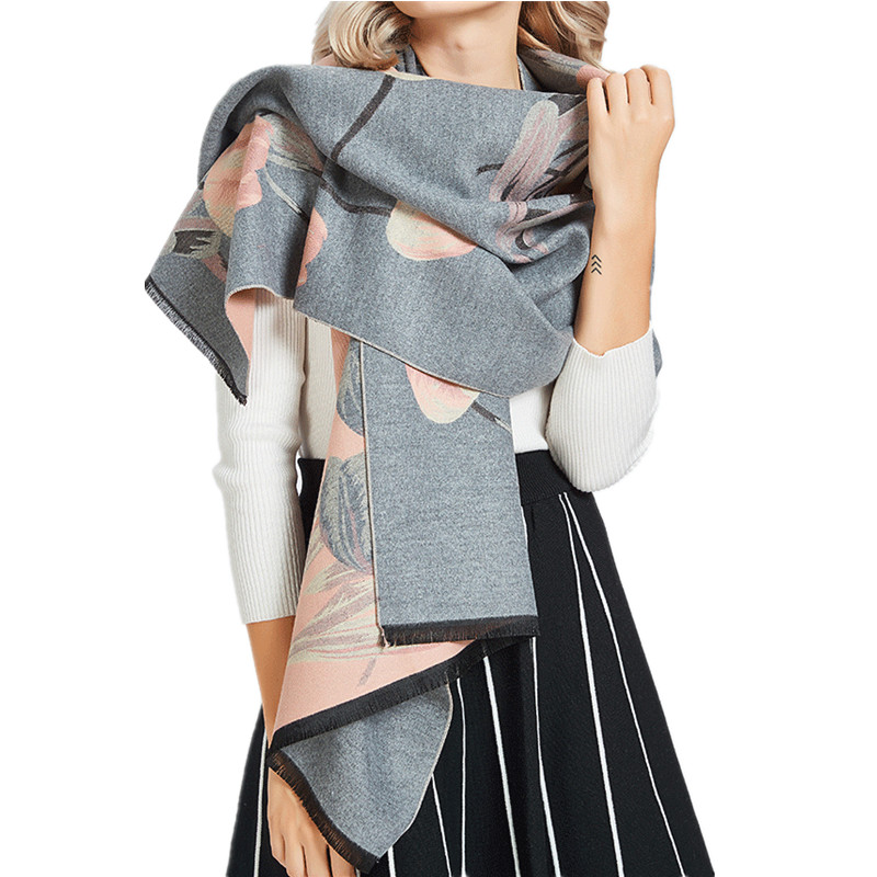 190*70cm 35% Cashmere Women's Winter Poncho Elegant Floral Faux Wool Scarf For Women Gray Pink Women's Tippet Winter Scarf Stole