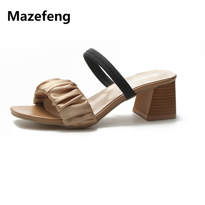 Mazefeng 2018 New Trend Summer Women High-heeled Shoes Mature Style Sexy Style Ladies Pumps Female Shoes Open toe Hoof Heels