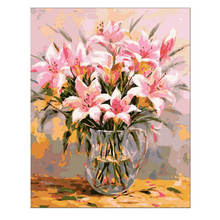 Living Room Decoration,Wall Photos For Room,Pink Lily,Diy Oil Painting By Numbers