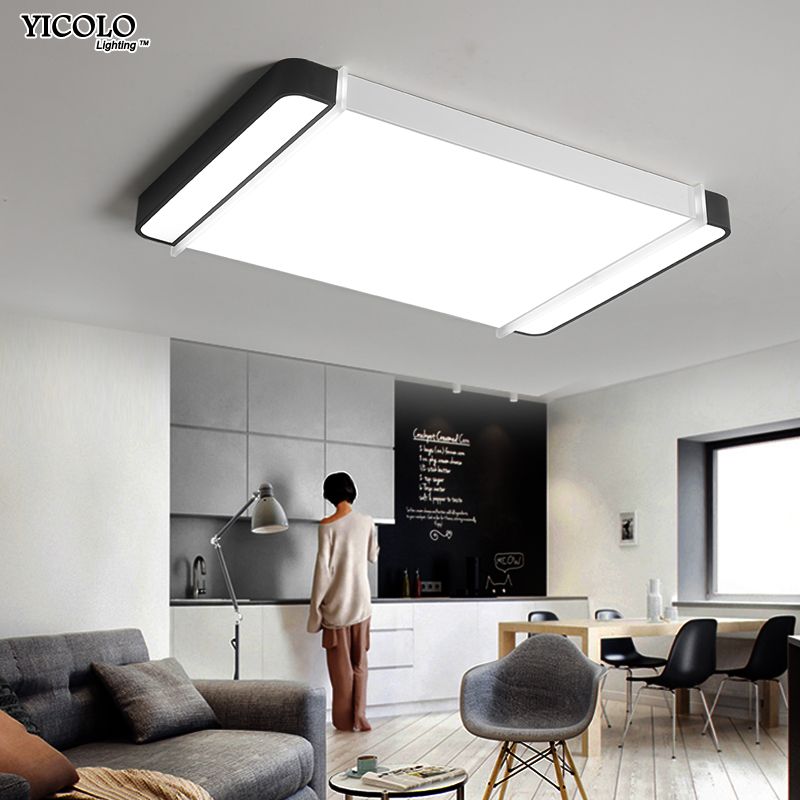 New Acrylic Square or rectangle Chandelier For Living Room Bedroom Home AC85-265V Modern Led Ceiling Chandelier Lamp Fixtures modern led ceiling chandeliers for living room bedroom square rectangle white black home dec modern led chandelier fixtures