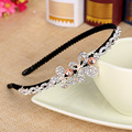 Korean Beautiful Shine Headband Diamond Rhinestone Flower Flora Head Hoop Creative Jewelry Ornaments Women Girls Accessories