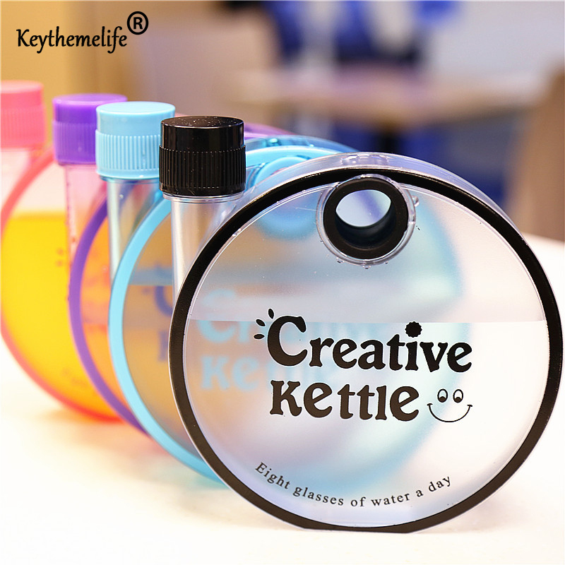 Keythemelife Frosted Round Plastic Water Bottles For Outdoor Bicycle Cycling Sports Gym Water Bottles 350ML 0D