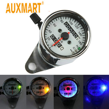 Auxmart Silver Motorcycle Speedometer Built-in Odometer Backlit Dual Speedometer With LED Indicator DC 12V 0~160kmh