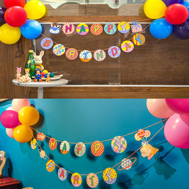 1 Set Kids Children Baby Boy Girl S Happy Birthday Party Banners