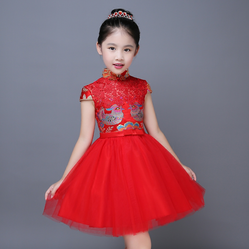 2017 autumn embroidery girls floral print prom dresses formal red chinese style party dresses kids qipao tutu dress for teens