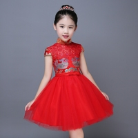 2017 Autumn Embroidery Girls Floral Print Prom Dresses Formal Red Chinese Style Party Dresses Kids Qipao