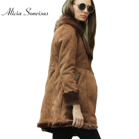2017 Faux Shearling Sheepskin Coats Women Thick Suede Jackets Warm Long Motorcycle Fur Collar Coats AS1062
