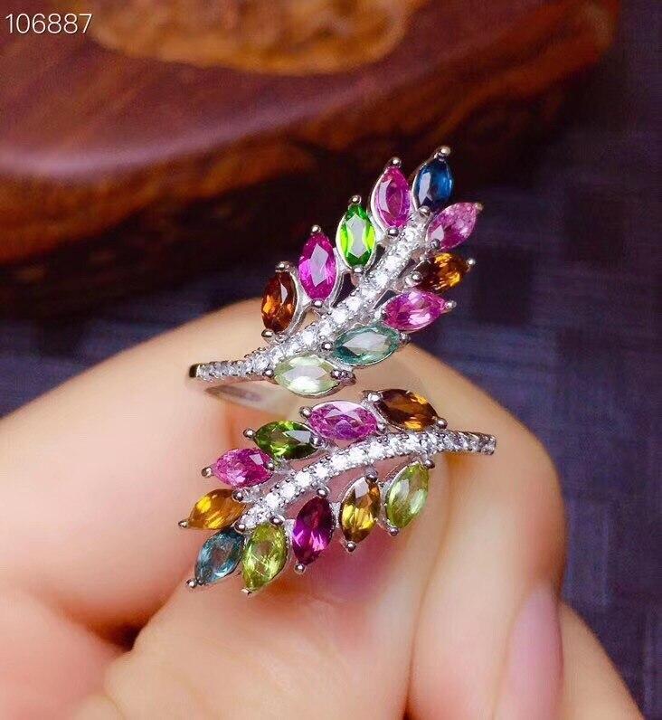Bague Tourmaline naturelle véritable tourmaline 925 anneaux en argent bague de mariage bijoux fins