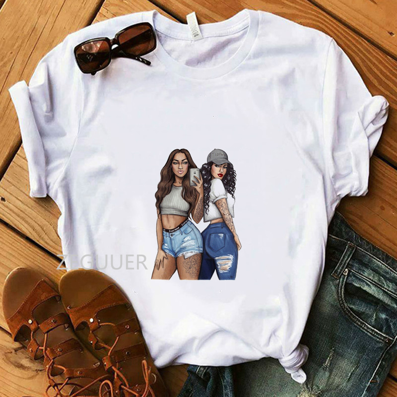 Vogue Best Friend Illustration Tees Summer Tops Two Girls Print T-shirt 100% Cotton Soft O-Neck White Women Casual T-Shirt image