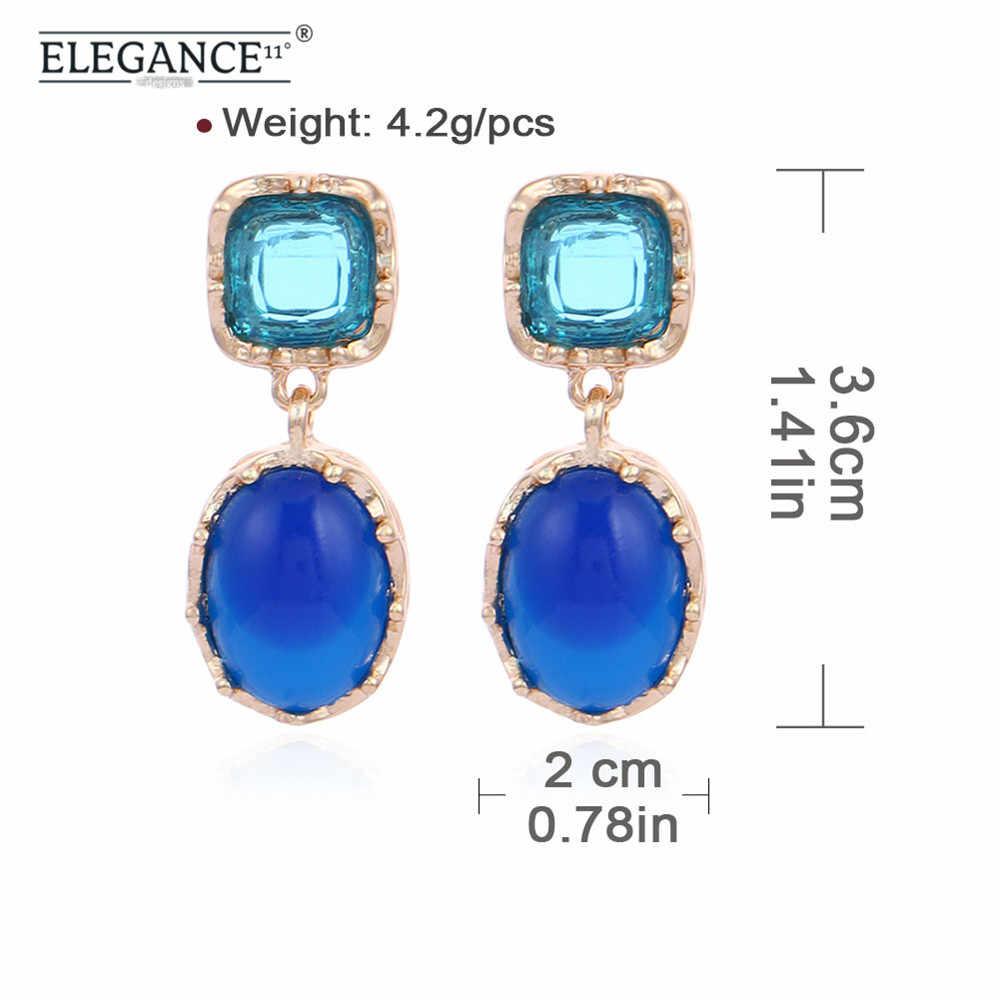 Elegancja Czeski Stud Kolczyk dla Kobiet Geometryczne Szpilki Kryształowe Royal Blue Żywica Kolczyki Szpilki Party Biżuteria Hurtowych