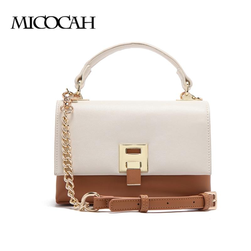 Micocah леди сумка цепи Сумочка Shouder Solid Цвет мягкий двойной карман шить Flip сотовый телефон карман Внутренний на молнии