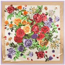 Flores e Plantas Lenço Quadrado Lenços de Seda Sentimento 90 cm Jogo Acessório Do Vestuário Da mulher Da Menina Adicionar Presente Roupas 90FJ29