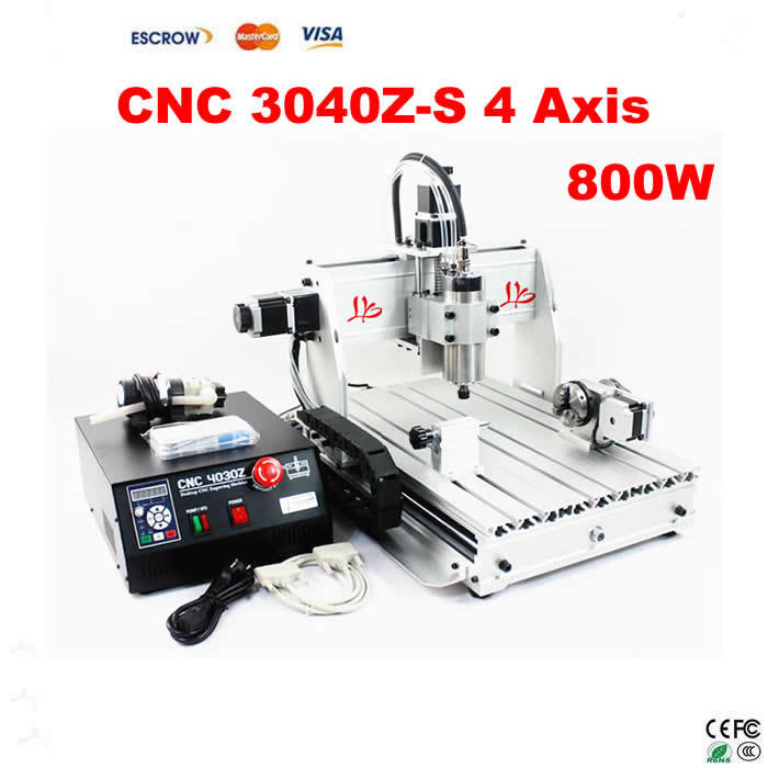 2017 hot sale model CNC Router 3040 Z-S 4 Axis milling machine with 800W VFD water cooled spindle cnc 5axis a aixs rotary axis t chuck type for cnc router cnc milling machine best quality