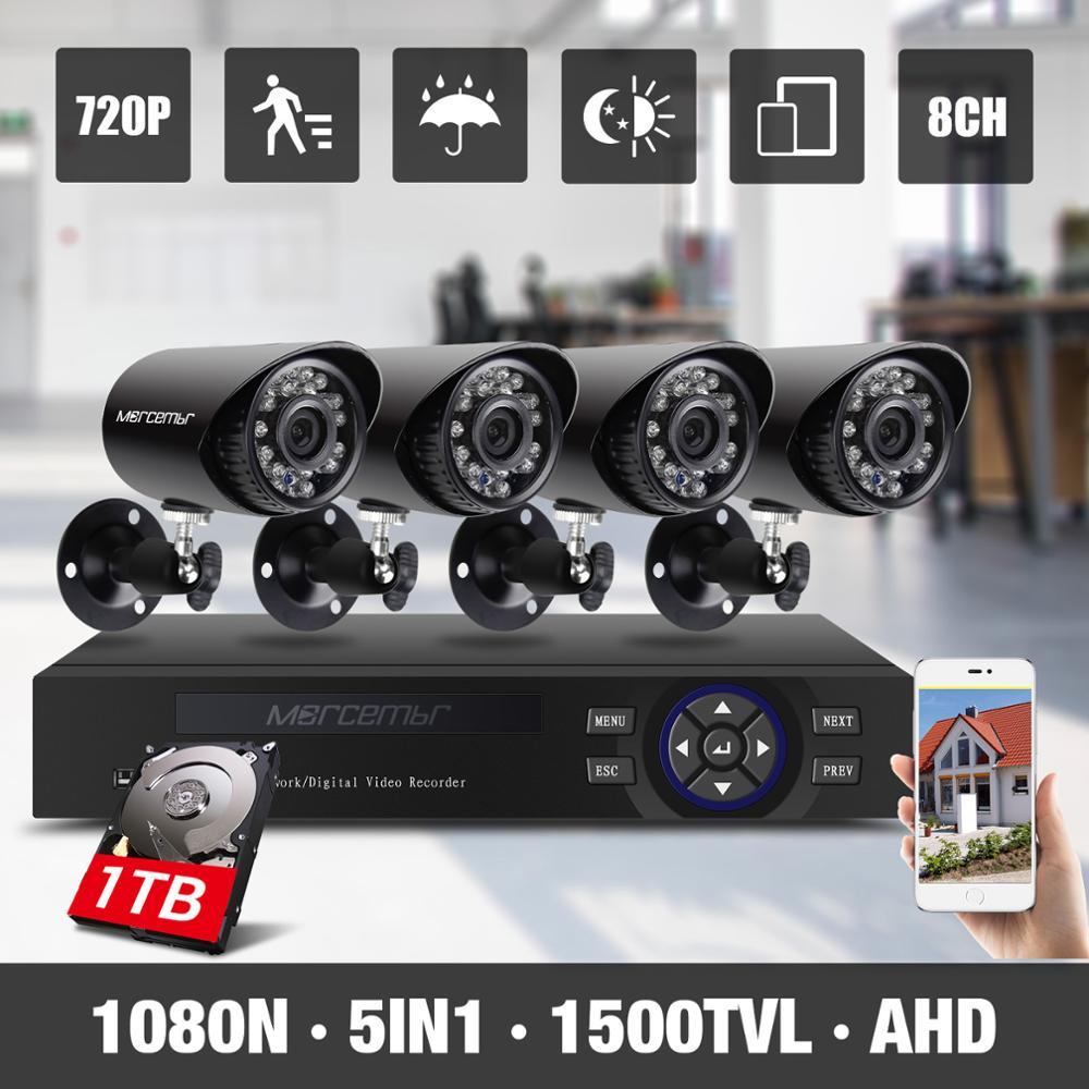Morcembr Video Surveillance System 1MP 4CH CCTV Camera System 720P 8CH AHD DVR infrared Security Cameras With 1TB Hard Disk система видеонаблюдения sunchan hd 1mp 1200tvl cctv 4ch 720p ahd dvr 4 720p 1 hdd skt 4042dv1 1tb