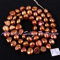 "Free Shipping 5-7mm Natural Freeform Brown Freshwater Pearl Gem Stone For DIY Necklace Bracelat Jewelry Making Beads 14"" / Lot"