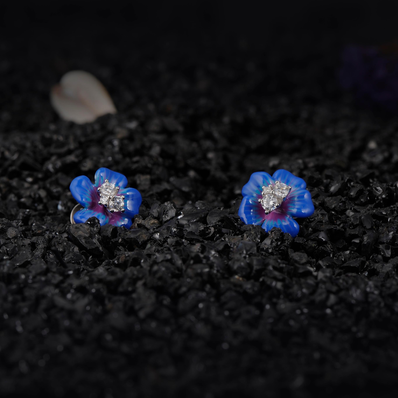 Image 2 - SANTUZZA Silver Earrings For Women 925 Sterling Silver Stud Flower Earrings Blue Flower Cubic Zirconia brincos Jewelry enamel-in Stud Earrings from Jewelry & Accessories
