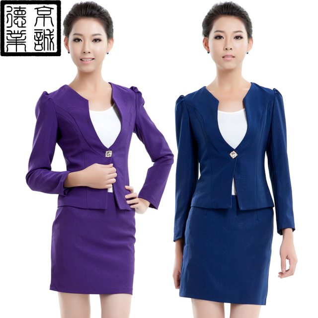 Work Wear Autumn And Winter Stewardess Uniforms Professional Set Front Desk  Uniform