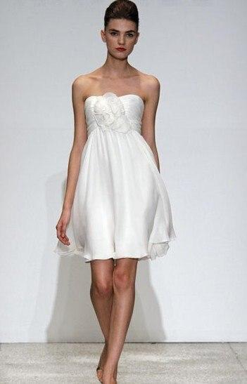 efd5e5235cf Free Shipping Sundayfrog A-Line Strapless Little White Dress Chiffon Flower  Mini Cocktail Dress -W27