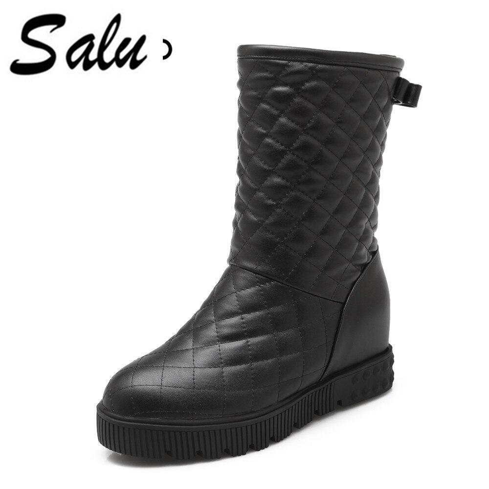 Salu 2018 Women Mid Calf Boots Winter Shoes Design Fashion fashion flat Heel Round Toe Casual Black Women Boots nancyjayjii velvet women fashion winter mid calf boots black