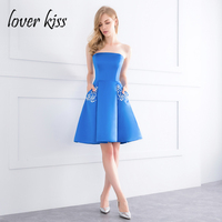 Lover Kiss Robe De Soiree Courte Simple Satin Strapless Blue Homecoming Dress With Pockets For Teen