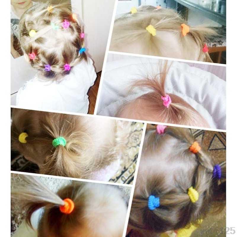 100 Pcs צבעוני ילד ילדים שיער מחזיקי חמוד גומי להקת שיער אלסטי אבזרים, ילדים ילדה שיער עניבת קוקו מחזיק