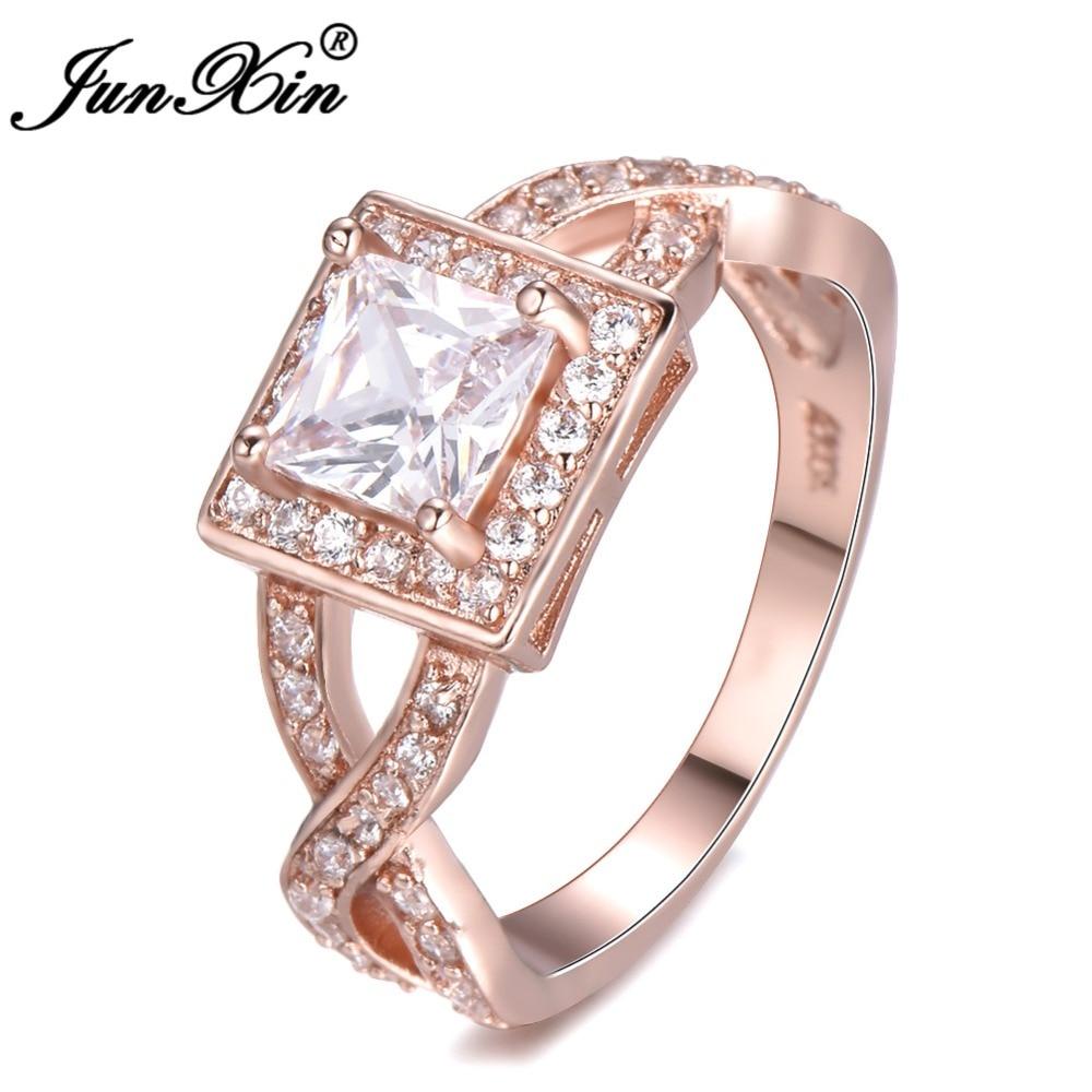 Junxin роскошные белые Цирконий Promise Ring Rose Gold Filled крест Геометрическая кольцо Обручальные кольца для Для женщин Ювелирные изделия из кристалло...