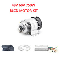 BLDC 48V 60V 750W Brushless Motor Kit With Controller Chain Throttle Set E Tricycle Electric Bike Motorcycle Conversion Kits