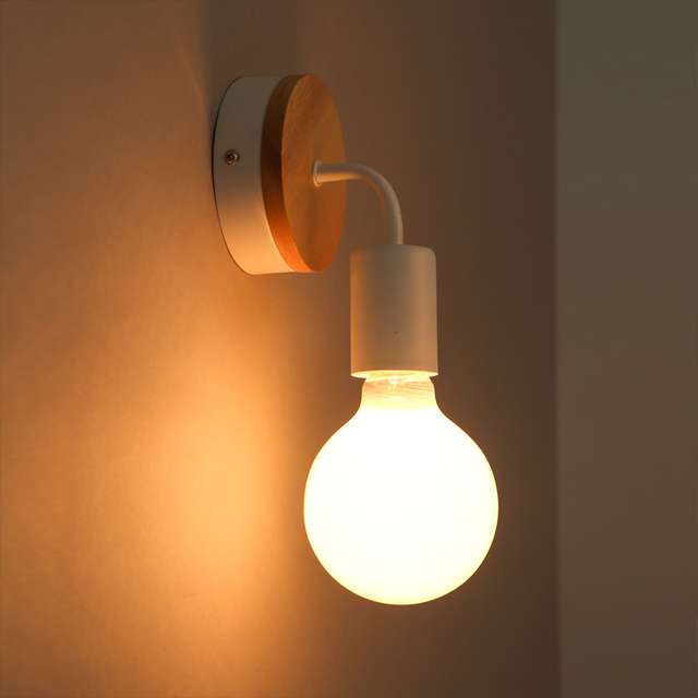 Nordic Modern Wall Lamp Wood Iron Wall Lighting Fixture Indoor Home ...