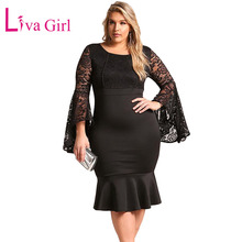 LIVA GIRL Plus Size Floral Lace Mermaid Dress White Woman Elegant Ruffles Bell Sleeve Party Midi Dresses Big Robe 4XL