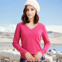 Hot Sale Long Sleeve Cashmere Wool  Sweater  Women Pullover 2016 Ladies Autumn Winter Warm V Neck Kitted Sweaters Jumper Female
