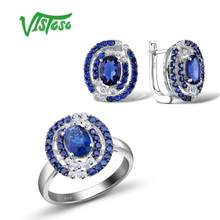 VISTOSO Jewelry Sets For Woman Blue Nano Cubic Zirconia Jewelry Set Earrings Ring 925 Sterling Silver Fashion Fine Jewelry(China)