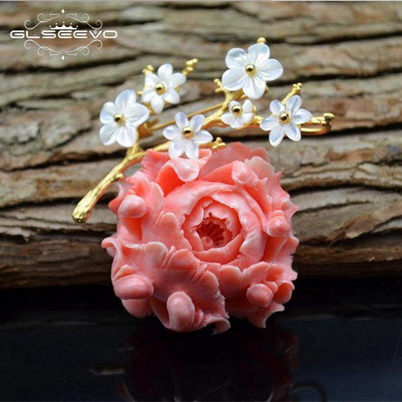 GLSEEVO Luxury Natural Mother Of Pearl Coral Flower Brooches For Women Accessories Pendant Dual Use Fine